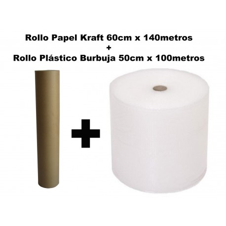 BOBINA ROLLO PLÁSTICO BURBUJAS 50cm x 100m. + ROLLO PAPEL KRAFT 60cm.x 140m.