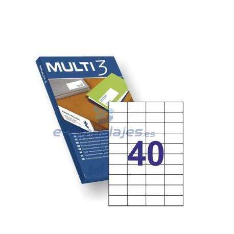 Etiquetas Adhesivas 52,5mm x 29,7 mm. 40 etiquetas x hoja Din A4. Multi 3