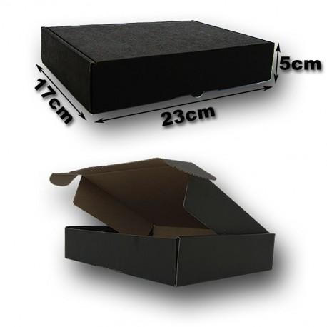23x17x5cm. Cajas Postales automontables Microcartón kraft. Color exterior NEGRO.