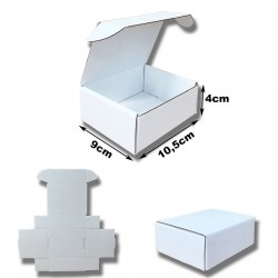 10,5x9x4cm. Cajas Automontables Microcanal Blanco interior y exterior.