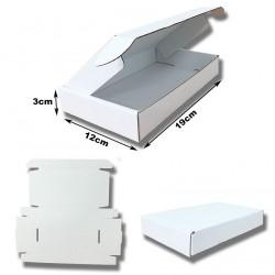 19x12x3cm.Cajas Postales blancas automontables Microcartón blanco interior y exterior