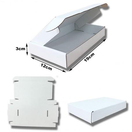 19x12x3cm.Cajas Postales blancas automontables Microcartón kraft blanco interior y exterior