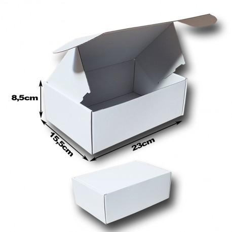 23x15.5x8.5cm. A5.Cajas postales Automontables Microcanal BLANCO INTERIOR Y BLANCO EXTERIOR