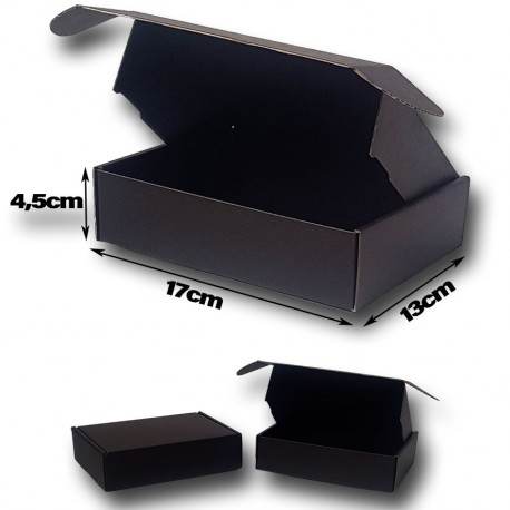 17x13x4.5cm. Cajas postales Automontables Microcanal kraft. Color Negro