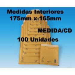 175x165 mm. 100 SOBRES ACOLCHADOS BURBUJA REF CD. Arofol