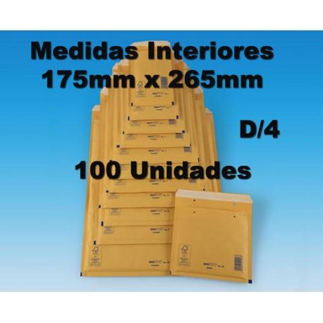 175x265mm. SOBRES ACOLCHADOS BURBUJA. Arofol REF D/4. 100 sobres