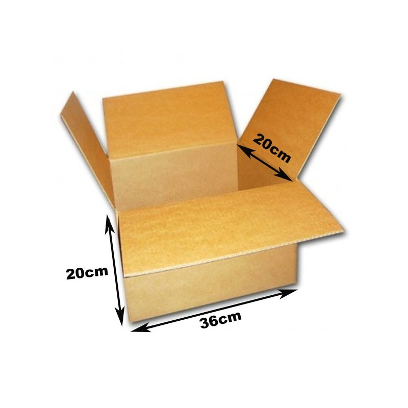 Cajas cart n 36x20x20cm canal simple marr n 5 unidades for Cajas carton embalaje