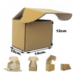 14x10x12cm Cajas Postales Automontables de cartón canal simple. KRAFT MARRÓN