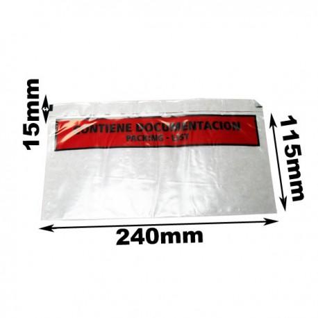 240x115+15mm. Sobres Packing List Porta-Documentos LD Impresos. 250 sobres.