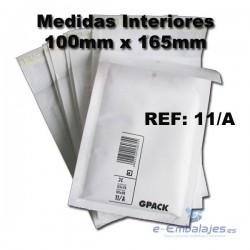 100mm x 165mm. 200 Sobres Acolchados Blancos. GPACK . 11/A