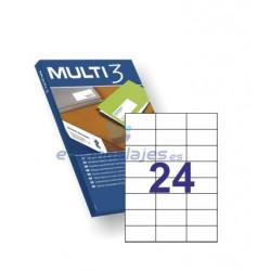 Etiquetas Adhesivas 70mm x 37 mm. 24 etiquetas x hoja Din A4. Multi 3