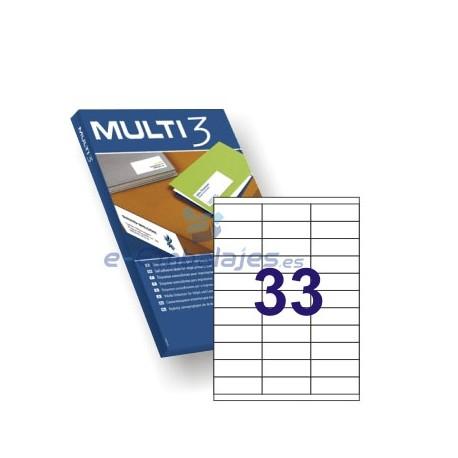 Etiquetas Adhesivas 70mm x 25,4 mm. 33 etiquetas x hoja Din A4. Multi 3