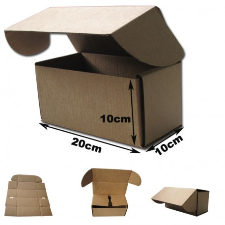 20x10x10cm Cajas Postales Automontables de cartón canal simple doble frontal . Marrón