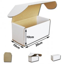 20x10x10cm Cajas Postales Automontables de cartón canal simple doble frontal . BLANCA