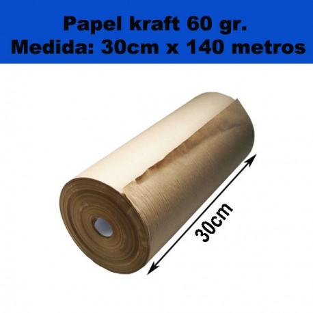 Rollo de papel Kraft Mini. 30cm x 140metros. 60gr.