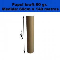 Rollo de papel Kraft . 60cm x 140metros. 60gr.