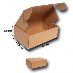 23x15.5x8.5cm. A5.Cajas postales Automontables Microcanal Kraft Marrón