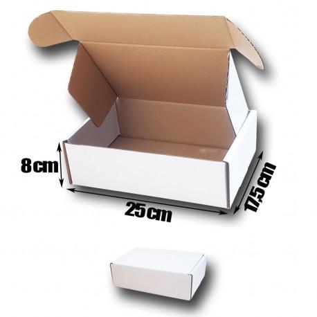 25x17,5x8cm Cajas Postales Automontables de cartón canal simple. Color BLANCO exterior