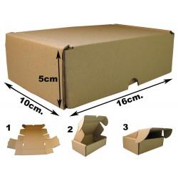 16x10x5cm Cajas Postales Automontables de cartón canal simple doble frontal . Marrón