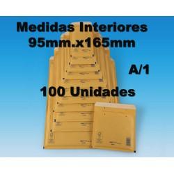 95x165mm. SOBRES ACOLCHADOS BURBUJA. REF A/1. 100 sobres Marrón